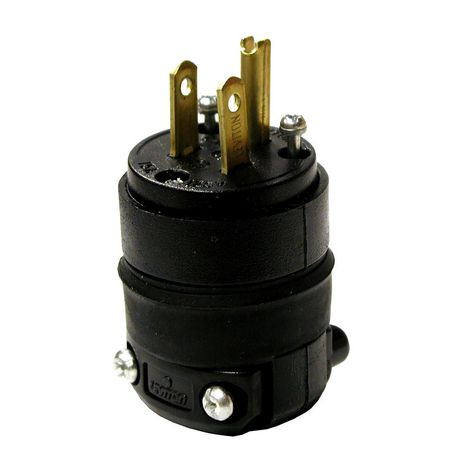 Leviton 3 wire 15a 125v black normal rubber plug walmart for What size wire for 125 amp service