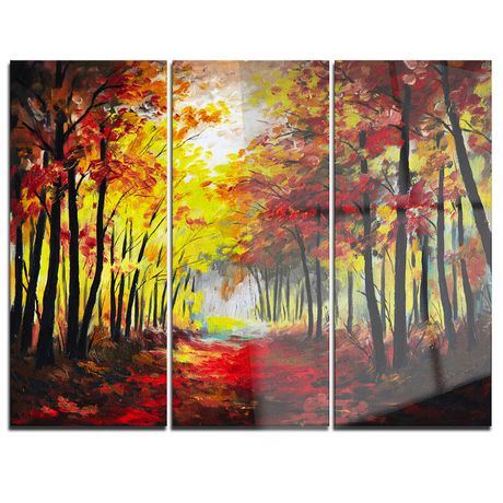 0683e2d905 Design Art Walk through Autumn Forest Multipanel Landscape Large Metal Wall  Art - image 1 of ...