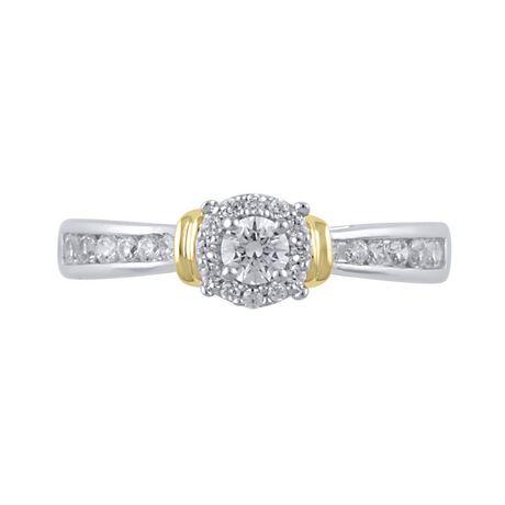 Bague de fiançailles diamant 0,45 carats poids total en or deux tons 10 carats. - image 3 de 4