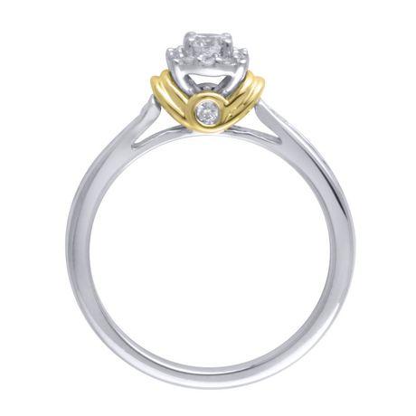 Bague de fiançailles diamant 0,45 carats poids total en or deux tons 10 carats. - image 2 de 4