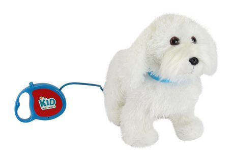 White animated Maltese puppy toy with lease, made by Kid Connection
