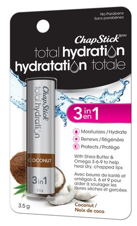 ChapStick Total Hydration (Coconut Flavour, 1 Blister Pack) Lip Balm Tube, 3 in 1 Lip Care - image 2 of 3