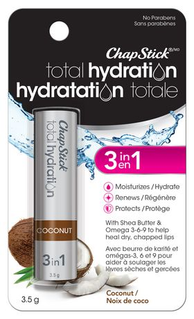 ChapStick Total Hydration (Coconut Flavour, 1 Blister Pack) Lip Balm Tube, 3 in 1 Lip Care - image 1 of 3