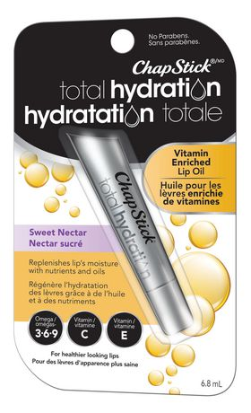 ChapStick Total Hydration (Sweet Nectar Flavour, 1 Tube) Vitamin C&E, Enriched Lip Oil, Omegas 3-6-9 - image 2 of 3
