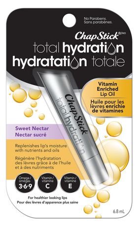 ChapStick Total Hydration (Sweet Nectar Flavour, 1 Tube) Vitamin C&E, Enriched Lip Oil, Omegas 3-6-9 - image 1 of 3