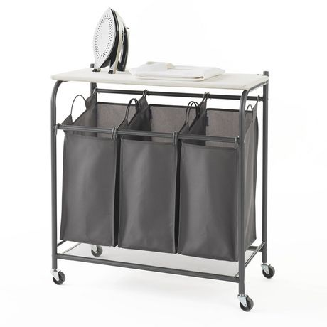 neatfreak! Rolling Triple Laundry Sorter with Ironing Board Top 05479 6A6A6A-002
