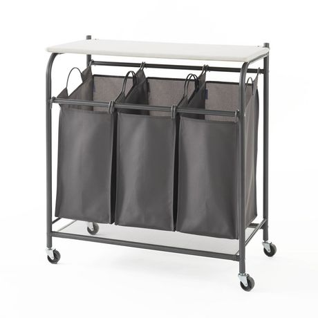 neatfreak! Rolling Triple Laundry Sorter with Ironing Board Top and EVERFRESH® Odor Control - Charcoal Grey - image 2 of 2