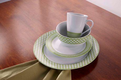 service de vaisselle 16 pi ces en porcelaine vert lime motif caprice walmart canada. Black Bedroom Furniture Sets. Home Design Ideas