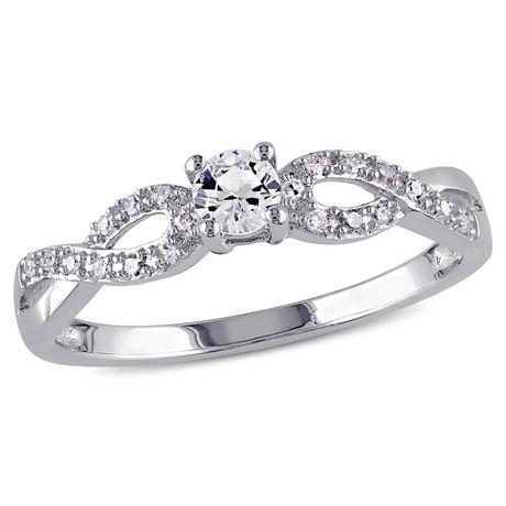Bague de fiançailles Miabella avec 0.25 Carat de saphir blanc synthétique et 0.10 Carat d'accents de diamant en argent sterling - image 1 de 5