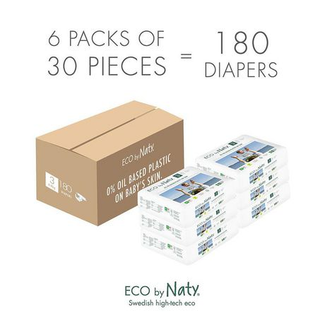 Eco by Naty Premium Disposable Baby Diapers for Sensitive Skin, Size Newborn, 4 packs of 25 (100 Diapers) (Chemical, dioxin, fragrance free) - image 7 of 7