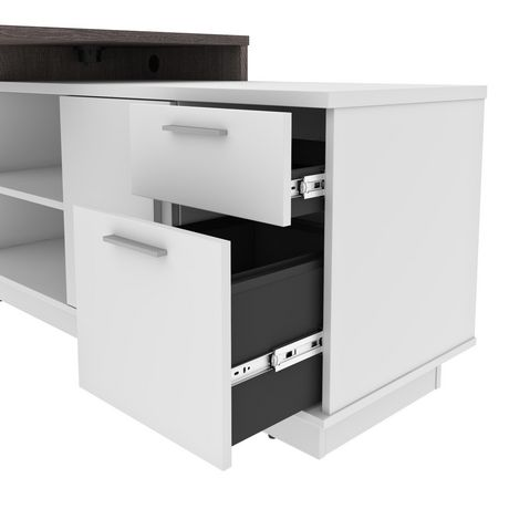 Bestar Equinox 2-Piece Set Including 1 L-Shaped Desk and 1 Storage Unit with 8 Cubbies - image 6 of 9