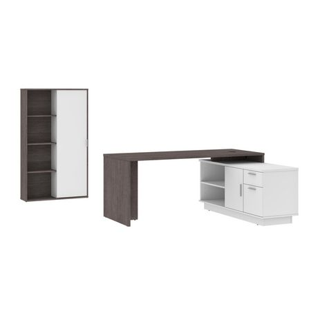 Bestar Equinox 2-Piece Set Including 1 L-Shaped Desk and 1 Storage Unit with 8 Cubbies - image 2 of 9