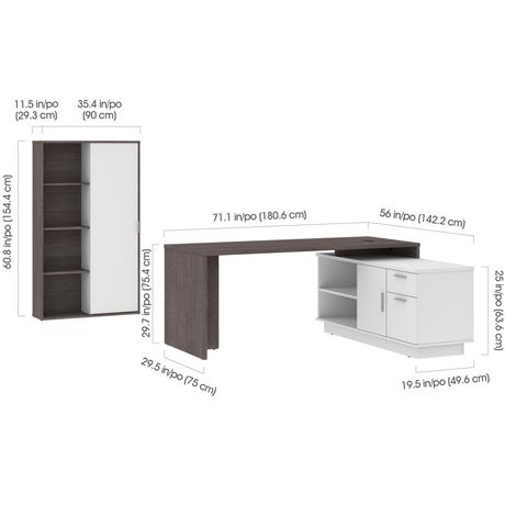 Bestar Equinox 2-Piece Set Including 1 L-Shaped Desk and 1 Storage Unit with 8 Cubbies - image 5 of 9