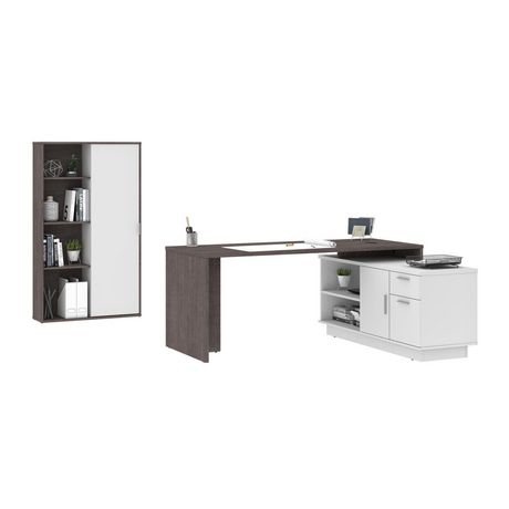 Bestar Equinox 2-Piece Set Including 1 L-Shaped Desk and 1 Storage Unit with 8 Cubbies - image 1 of 9