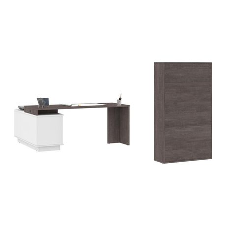 Bestar Equinox 2-Piece Set Including 1 L-Shaped Desk and 1 Storage Unit with 8 Cubbies - image 3 of 9