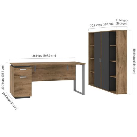 Bestar Aquarius 3-Piece Set Including a Desk with Single Pedestal and Two Storage Units with 8 Cubbies - image 5 of 7