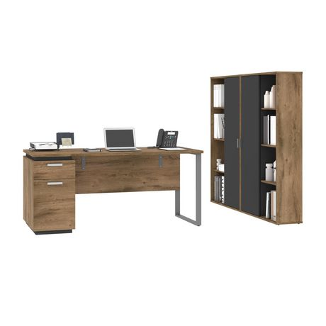 Bestar Aquarius 3-Piece Set Including a Desk with Single Pedestal and Two Storage Units with 8 Cubbies - image 1 of 7