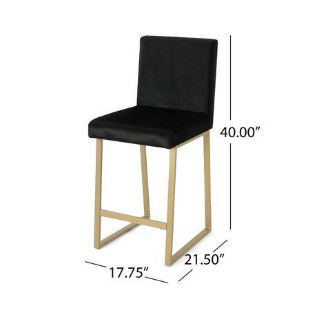 Toucanet Modern Velvet Barstools, Black and Brass (Set of 2) - image 4 of 5