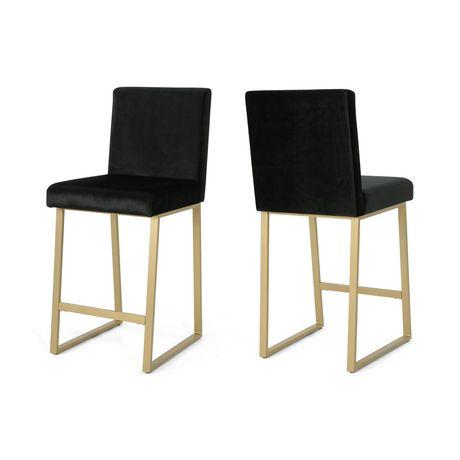Toucanet Modern Velvet Barstools, Black and Brass (Set of 2) - image 5 of 5