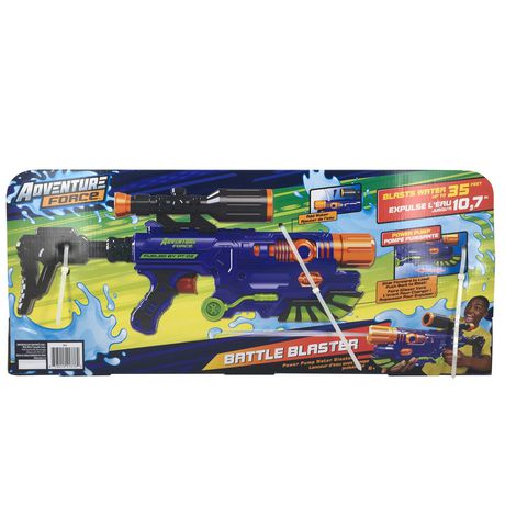lanceur d 39 eau battle blaster d 39 adventure force avec pompe puissante. Black Bedroom Furniture Sets. Home Design Ideas