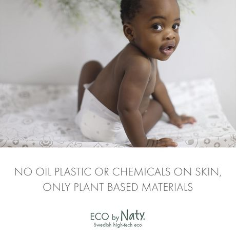 Eco by Naty Premium Disposable Baby Diapers for Sensitive Skin, Size Newborn, 4 packs of 25 (100 Diapers) (Chemical, dioxin, fragrance free) - image 5 of 7