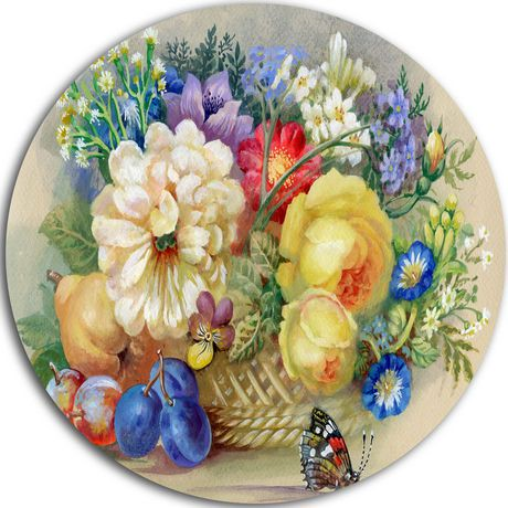 Design Art Bunch of Flowers and Fruits\' Ultra Glossy Floral Metal ...