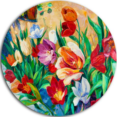 Design Art Bouquet of Colourful Flowers' Ultra Glossy Floral Metal Circle Wall Art - image 1 of 1