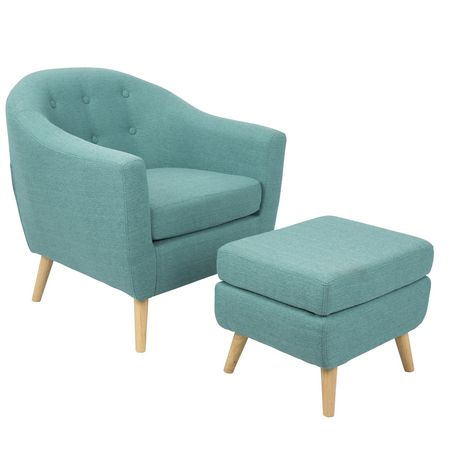 free shipping 22129 db8d1 Rockwell Mid-Century Modern Chair with Ottoman by LumiSource