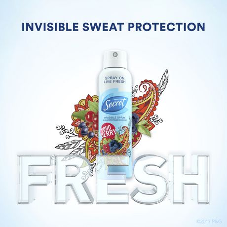 Secret Invisible Spray Boho Berry Antiperspirant And Deodorant - image 5 of 7