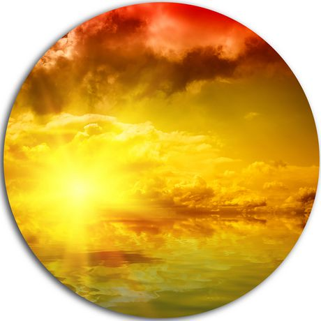 Design Art Red Dramatic Sky with Yellow Sun\' Ultra Glossy Landscape ...