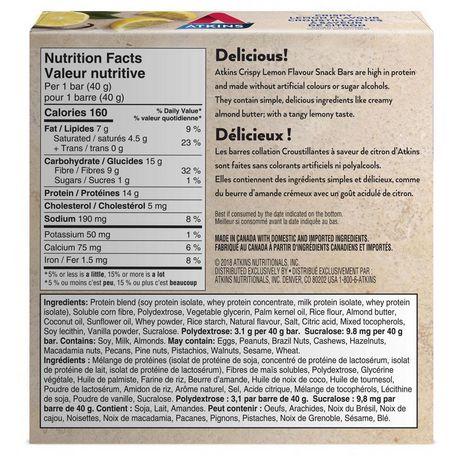 Atkins Crispy Lemon Flavour Snack Bars - image 2 of 4