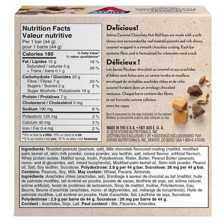 Atkins Caramel Chocolaty Nut Roll Snack Bars - image 2 of 4