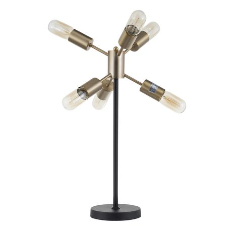 Spark Contemporary Table Lamp in Walnut and Black by LumiSource - image 5 of 9
