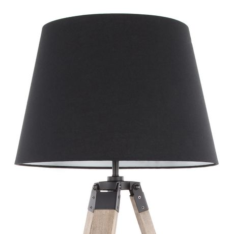 Compass Mid-Century Modern Table Lamp in Walnut and Black by LumiSource - image 6 of 9