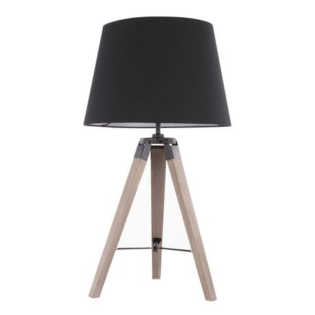 Compass Mid-Century Modern Table Lamp in Walnut and Black by LumiSource - image 3 of 9