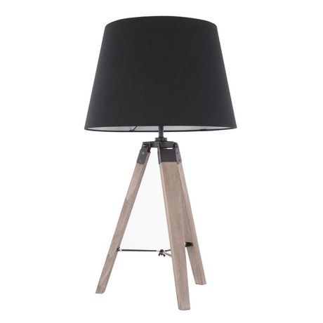 Compass Mid-Century Modern Table Lamp in Walnut and Black by LumiSource - image 4 of 9