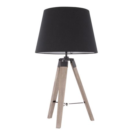 Compass Mid-Century Modern Table Lamp in Walnut and Black by LumiSource - image 1 of 9