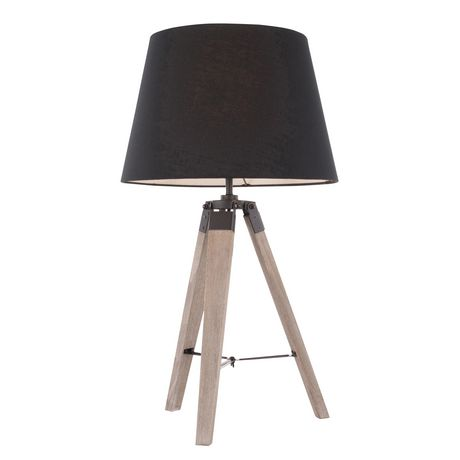 Compass Mid-Century Modern Table Lamp in Walnut and Black by LumiSource - image 2 of 9