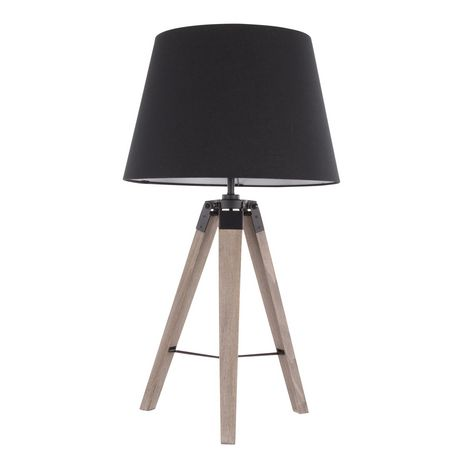 Compass Mid-Century Modern Table Lamp in Walnut and Black by LumiSource - image 5 of 9