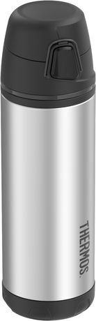 Silver Thermos bottle with black plastic cap