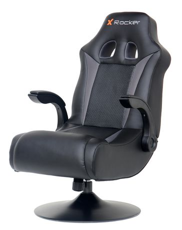 Black leather gaming chair on swivel pedestal with Bluetooth audio, made by X Rocker