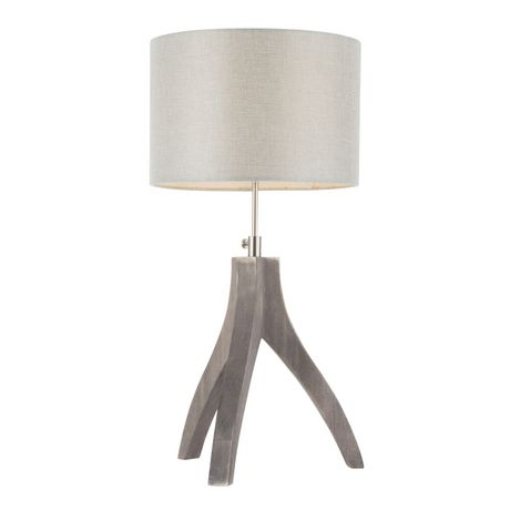Wishbone Contemporary Table Lamp in Walnut and Black by LumiSource - image 2 of 9