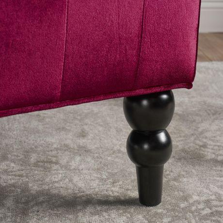Leora Modern Glam Tufted Velvet Wingback Loveseat, Wine and Dark Brown - image 4 of 5