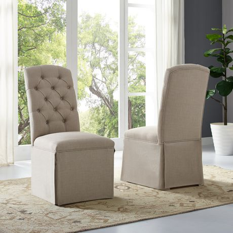 Outstanding Sienna Tufted Dining Chair Set Of 2 Beige Walmart Canada Creativecarmelina Interior Chair Design Creativecarmelinacom