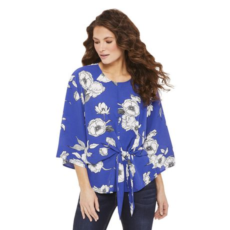 George Women's Draped Tie Front Blouse - image 1 of 6