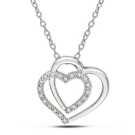 Pendentif en cœur double Miabella avec 0.10 Carat de diamant en argent sterling, 18 po - image 1 de 2