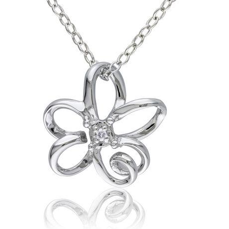 Pendentif en Fleur Miabella avec accents de diamant en Argent Sterling, 18po - image 1 de 4