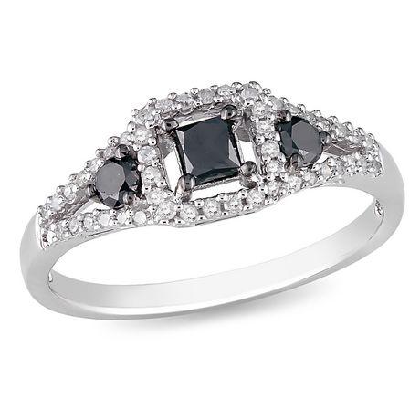 Bague de Mode Asteria avec 0.50 Carat de Diamant Noir et Blanc en Argent Sterling - image 1 de 2