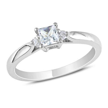 Bague de Promesse Miabella avec 0.30 Carat de Saphir Blanc Synthétique de Coupe Princesse et Accents de Diamant en Argent Sterling - image 1 de 2