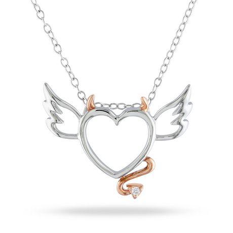 Pendentif en cœur-diable Miabella avec accents de diamant en argent sterling, 18 po - image 1 de 2